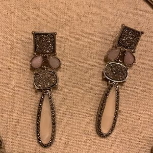 Grey and pink sparkle earrings